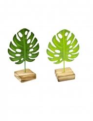 Hoja tropical de metal sobre pie de madera verde 15 cm