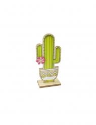 Cactus de madera con pie verde 14 cm