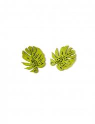 10 Confetis de madera hojas tropicales 4 cm