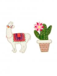9 Confetis de madera llama y cactus 3.5 x 4 cm