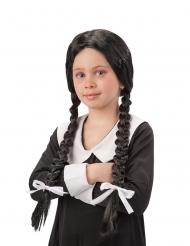 Peluca negra con trenzas colegiala niña