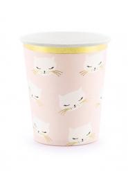 6 Vasos de cartón gato rosa y blanco 200 ml
