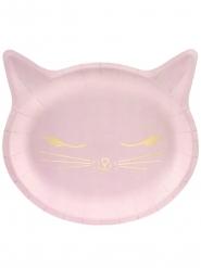 6 Platos de cartón gato rosa 22 x 20 cm