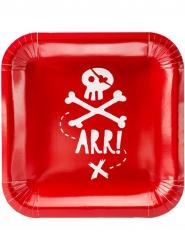 6 Platos de cartón fiesta de piratas rojo 20 cm