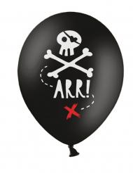6 Globos de látex fiesta de pirata negro 30 cm
