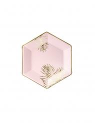6 Platos de cartón hexagonales tropical rosa y dorado 23 cm