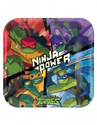 8 Platos de cartón cuadrados El Destino Las Tortugas Ninja™ 23 x 23 cm