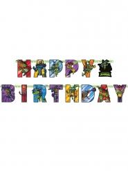 Guirlanda de cartón Happy Birthday El ascenso de las Tortugas Ninja™ 200 x 15 cm