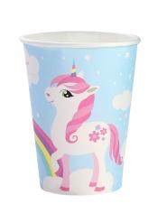 6 Vasos de cartón unicornio mágico azul 25 cl