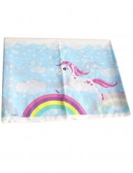 Mantel de plástico unicornio mágico azul 130 x 180 cm