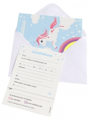 6 Invitaciones con sobres unicornio mágico azul