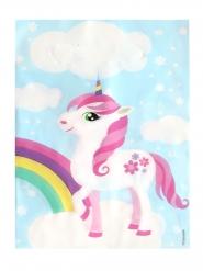 6 Bolsas de regalo plástico unicornio mágico azul