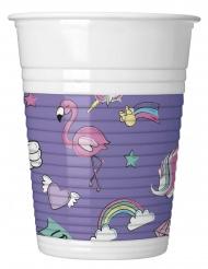 8 Vasos de plástico Minnie unicornio™ 200 ml