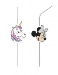 6 Pajitas medallón de Minnie Unicornio™
