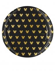 8 Platos pequeños de cartón Mickey Gold™ 20 cm