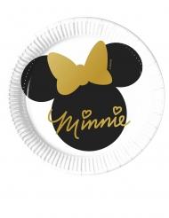 8 Platos pequeños de cartón Minnie Gold™ 20 cm