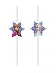 6 Pajitas viñetas de cartón Frozen™