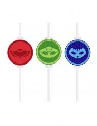 4 Pajitas medallón de cartón PJ Masks™