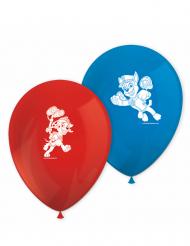 8 Globos de látex rojo y azul Paw Patrol™ listos para la acción