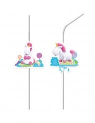 6 Pajitas medallón de plástico Minions™ unicornio