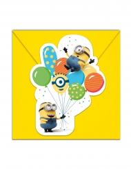 6 Tarjetas de invitación con sobres Minions ballons party™