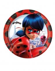 8 Platos pequeños de cartón Ladybug™ 20 cm