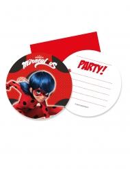 6 Tarjetas de invitación con sobres Miraculous Ladybug™