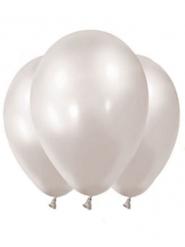 12 Globos metalizados blancos 28 cm
