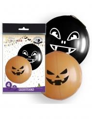 4 Globos gigantes de látex Halloween naranjas y negros 47 cm