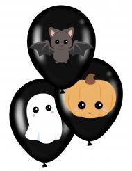 6 Globos de látex sweety halloween negros 28 cm