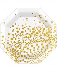 6 Platos dorados lujo 23 cm