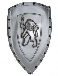 Escudo gris león plástico 72 x 42 cm