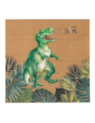 16 Servilletas de papel dinosaurio verde y dorado 33 x 33 cm