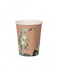 8 Vasos de cartón dinosaurio verde y dorado 250 ml