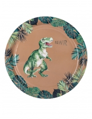 8 Platos de cartón dinosaurio verde y dorado 23 cm