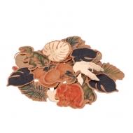 80 Confetis de cartón dinosaurios y hojas 3-4 cm