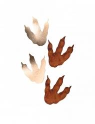6 Huellas de dinosaurio marrón y dorado 15.5 x 13.5 cm