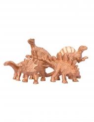 5 Dinosaurios decorativos dorados 6 x 1.5 cm