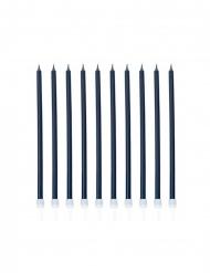 10 Velas gigantes con picos azul marino nacarado 15 cm