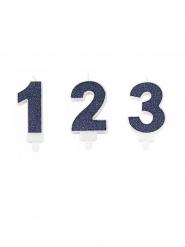 Vela de número purpurina azul marino 7,3 cm