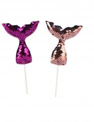 4 Palillos de lentejuelas cola de sirena violeta 18 cm
