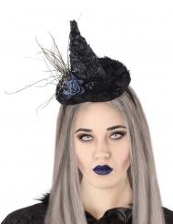 Diadema sombrero de bruja rosa negro adulto