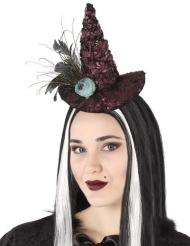 Diadema sombrero de bruja rosa azulada adulto