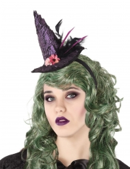 Diadema sombrero de bruja morado adulto