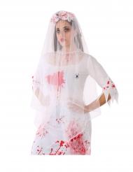 Diadema velo araña y rosas blancas cpn sangre adulto
