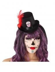 Mini sombrero de copa negro Día de los muertos adulto