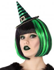Diadema mini sombrero bruja rayado negro y verde adulto