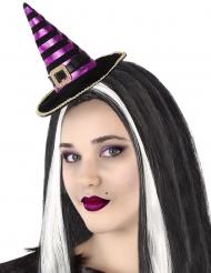 Diadema mini sombrero bruja rayado negro y morado adulto