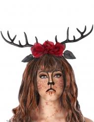 Diadema cuernos de ciervo y rosas rojas adulto