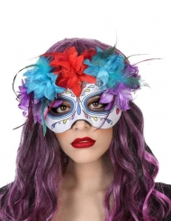 Máscara multicolor Día de los muertos adulto
